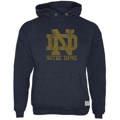 Notre Dame Fighting Irish - Distressed ND Logo Tri-Blend Adult Hoodie