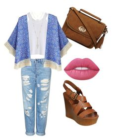 """""""Untitled #11"""" by graciebenda on Polyvore featuring Dorothy Perkins, Topshop, Lime Crime, House of Harlow 1960 and kimonos"""