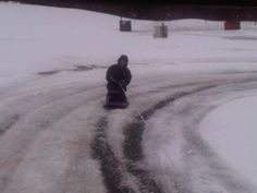 It hardly snows in GA but when it does...in true redneck style..kneeboarding behind the jeep