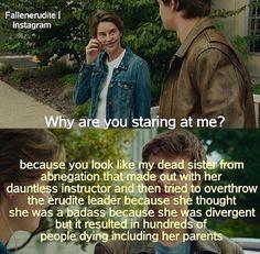 ~Divergent~ ~Insurgent~ ~Allegiant~ omg tfios and divergent Divergent Jokes, Divergent Hunger Games, Divergent Fandom, Divergent Trilogy, Divergent Insurgent Allegiant, Tfios, Disney Divergent, Divergent Plot Twist, Insurgent Quotes
