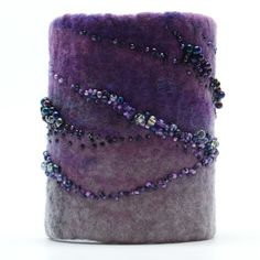 Nuno felted cuff bracelet with bead embroidery