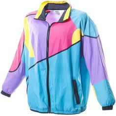 Funny Guy Mugs Gnarly 80s 90s Retro Neon Windbreaker ($50) ❤ liked on Polyvore featuring activewear, activewear jackets, neon activewear and retro sportswear