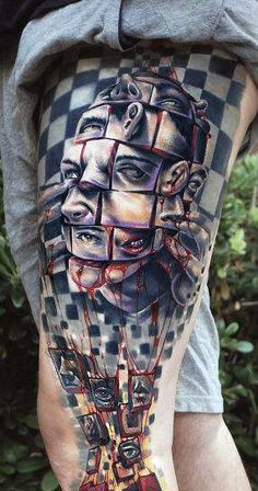 incredible 3d thigh tattoo