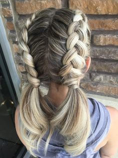 Bright Milkmaid Braid with Bangs - 20 Chic Milkmaid Braid Ideas - The Trending Hairstyle Dutch Pigtail Braids, French Braid Pigtails, Two Dutch Braids, Milkmaid Braid, Braided Ponytail, Dutch Braid Into Bun, Softball Hairstyles, Dance Hairstyles, Braided Hairstyles