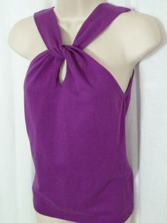 MODA INTERNATIONAL Purple Knit Blouse M Twist Front Peep Hole Sleeveless 0615115
