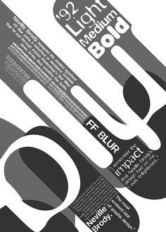 FF Blur by Neville Brody- Typographic Poster on Behance Poster Fonts, Typographic Poster, Typographic Design, Punk, Neville Brody, Stefan Sagmeister, Blurred Lights, Paula Scher, Milton Glaser