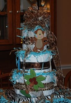 Close-up of the Diaper Cake I made for my sister's baby shower.