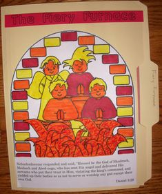 File folder game/lapbook with games for Shadrach, Meshach and Abednego and the fiery furnace.