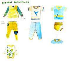 Illustrationen von Anne Sommer – Gründerin von Spielmode – die Kinderkleidung mit integrierten Spielen: Baby-Kleidung