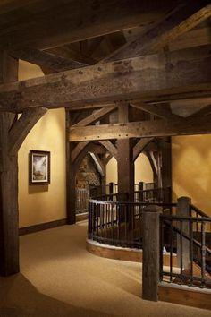 Beautiful dark rustic timber frame-Centennial Timber Frames, Kalispell MT