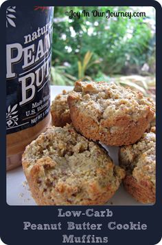 "Peanut Butter Cookie Muffins 4 eggs, lightly beaten cup melted coconut oil or melted butter cup water cup natural ""no sugar added"" peanut butter cup flax meal cup coconut flour 4 tsp. Peanut Butter Muffins, Low Carb Peanut Butter, Peanut Flour, Low Carb Sweets, Low Carb Desserts, Low Carb Bread, Low Carb Keto, Lchf, Low Carb Recipes"