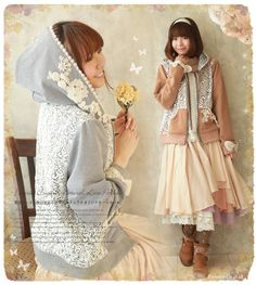 Favorite | Rakuten Global Market: Natural double zip parka ゜ +. of the world fashion senior .* ゜ feelings race decoration of the children's story which I put lady's race parka original floral design * Favorite original * flower and plant lace for luxuriously