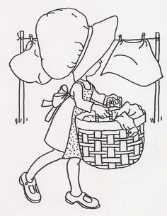 Girl Doing Laundry | Flickr - Photo Sharing! Lots of drawings here suitable for red work embroidery.