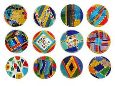 Glass-Mosaic-Lg-Candy-Dishes-w-Silver-Crackle-Painted-Back-Set-of-12-5-D