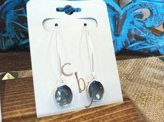 Sterling Silver plated Gray glass earrings $21
