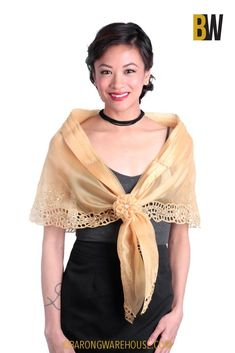 The alampay is what women use as a cape or shawl in Filipino culture. Bring out your inner Maria Clara in this beautifully embroidered free-size alampay. Modern Filipiniana Gown, Filipiniana Wedding Theme, Wedding Dresses, Philippines Dress, Barong Tagalog, Fiesta Dress, Gold Gown, Traditional Fashion, Cutwork