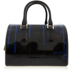 Furla Candy Black Painting Medium Bag (825 AED) ❤ liked on Polyvore featuring bags, handbags, black, furla bags, furla purses, furla and furla handbags
