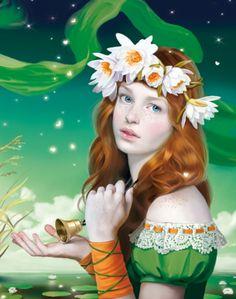 f Druid Robes Circlet Bell Pond Lake Garden med Illustrators, Colorful Art, Creative Portraits, Russian Art, Female Images, Fantasy Art, Female Art, Photography Illustration, Art