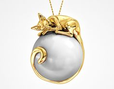 Sleeping cat pearl necklace jewelry