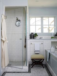 Clear View  This small shower is kept from feeling cramped, thanks to its frameless shower door and glass enclosure. Inside, white subway tile contributes to the sense of spaciousness.