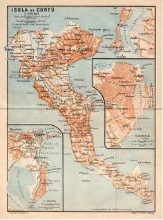 1911 Greek Islands Antique Map Corfu Greece Isola by Craftissimo, €11.95