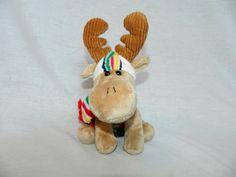 "HBC The BAY 8"" plush Brown Tan MOOSE W Hat & Scarf stuffed Toy   eBay"