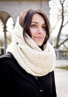 Ravelry: Cabernet Infinity Scarf - aran pattern by Monika Sirna Cowl Scarf, Knit Cowl, Crochet Shawl, Knit Crochet, Knitted Cowls, Knitted Scarves, Infinity Scarf Knitting Pattern, Arm Knitting, Cowls