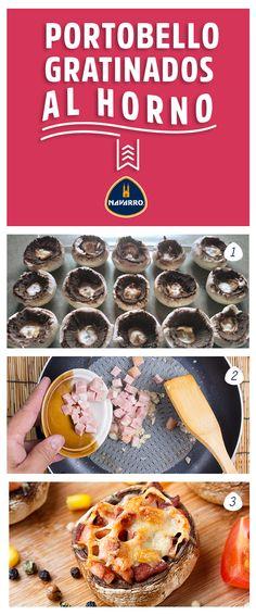 Un vistoso platillo, en pocos pasos: 1.- Lava hongos portobello, quítales el rabo y colócalos en un refractario para hornear previamente engrasado con mantequilla. 2. Pica en cubos: tocino, cebolla, jamón y los rabos del portobello. Fríe la mezcla sobre una sartén a fuego lento con mantequilla y ajo picado finamente. 3.-Pon el relleno en los hongos y cúbrelos con Queso Manchego NAVARRO rallado. Hornéalos por 15 minutos a 180 grados centígrados, sirve y listo.