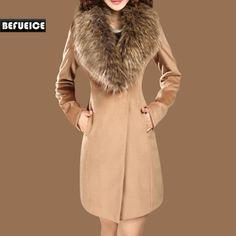 Women's Clothing Autumn and Winter Coat Female Woolen Outerwear Long Design Slim Large Fur Collar Wool Coat $94.99