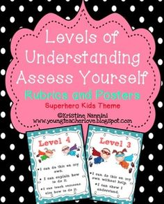 Levels of Understanding Assess Yourself Rubrics and Poster (superhero theme)