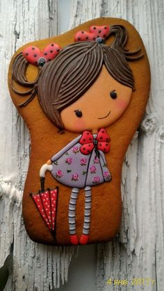A little cutie with pigtails and umbrella Cookies For Kids, Fancy Cookies, Sweet Cookies, Valentine Cookies, Iced Cookies, Cute Cookies, Cookies Et Biscuits, Cupcake Cookies, Sugar Cookie Icing