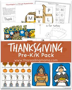 Looking for Thanksgiving activities to do with your preschooler or Kindergartner. This free Thanksgiving PreK& Pack might just be the pack for you! Preschool Prep, Preschool Themes, Preschool Lessons, Preschool Learning, In Kindergarten, Thanksgiving Activities For Kids, Thanksgiving Crafts, School Holidays, Tot School