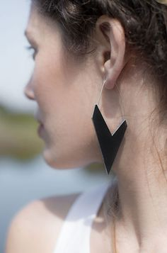 Aumorfia | Polygons | SS14 | Check leather earrings