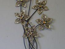 Cute Wanddekoration Metall mit Acryl Blume Strauch Bl tter