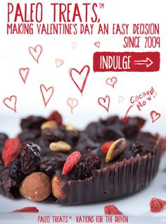 Make Valentine's Day, Paleotine's Day! 15% off Paleo Treats' decadent Brownie Bombs, Cacao Now, Mac Attack and Mustang Bars #Paleo #Valentine