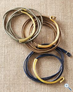 Ada Korinka Hook Wrap Bracelet.  I can see it working with wire-wrapped leather cord as well.