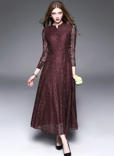 Polyester Solid Long Sleeve Mid-Calf Vintage Dresses (1021711) @ floryday.com