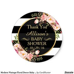 Modern Vintage Floral Decor Baby Shower Thank You