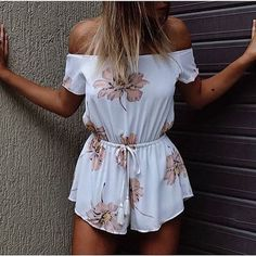 Floral Print Jumpsuit with Sexy Slash Neck Off Shoulder and Romper Shorts with Adjustable Waist