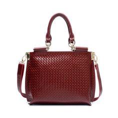 Fashion Large Leather Rhombus Hobo Wine Red $89