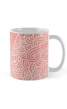 """""""Peach echo and white zentangles"""" Mug by Savousepate on Redbubble #mug #pattern #abstract #zentangles #doodles #scrolls #spirals #pastel #pink #coral #salmon #peachecho #rosequartz #white #pantonecolors2016"""