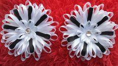"Bows, flowers, ribbon, kanzashi, Резинки для волос. ""Школьные бантики"""