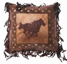 "(CARJB6146) ""Pecos Trail"" Western Horse Rivet Accent Pillow"