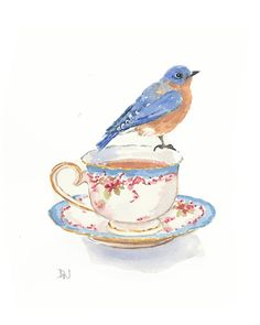 Original Bird Watercolour Painting - Bluebird Painting, Teacup Watercolor, Bird on a Teacup, 8x10 Illustration via Etsy