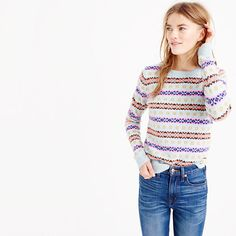 On a cold winter day, there's nothing better than slipping on a warm wool Fair Isle sweater. Especially one that our designers adapted from a classic men's sweater (that they sized-down to perfectly suit the ladies). <ul><li>Relaxed fit.</li><li>Hits slightly below hip.</li><li>Wool.</li><li>Rib trim at neck, cuffs and hem.</li><li>Dry clean.</li><li>Import.</li></ul>