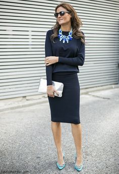 All Zara navy blue pencil skirt and blouse