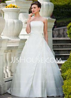 Ball-Gown Strapless Court Train Organza Satin Wedding Dress With Ruffle Beadwork Sequins