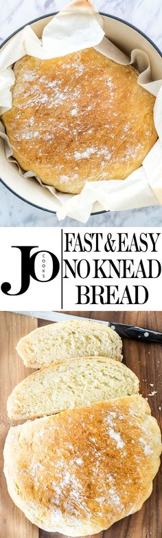 """""""Fast"""" 3 hr No Knead Bread. Anyone can can be an amazing baker with this Fast and Easy No Knead Bread recipe! Using only 4 ingredients, learn how to make this delicious loaf that's soft inside and crusty on the outside. Knead Bread Recipe, No Knead Bread, Muffin Recipes, Bread Recipes, Cooking Recipes, Crackers, Sandwiches, Dutch Oven Recipes, Chips"""