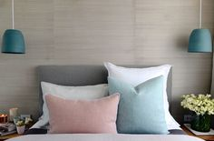 Bed styling l Velvet cushions l Blue pendant lights l Bedside styling l The Block Triple Threat: Week 1 Room Reveals