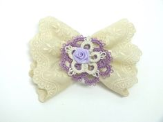 Beige Lavender Lace Bow Embroidery Ivory Bow Tatted by Hermitinas